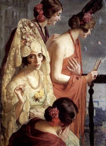 elegant ladies on a balcony by pedro antonio martínez
