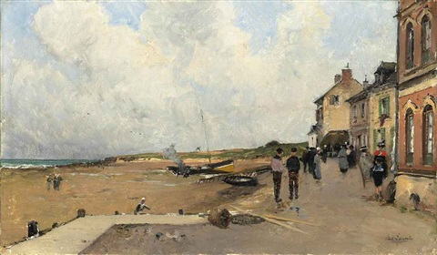 barques sur la plage by paul emile lecomte