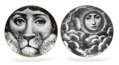 a collection of eight rosenthal fornasetti plates by piero fornasetti