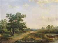 travellers on a road in a rural landscape by marinus adrianus koekkoek the elder