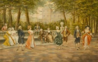 couples on veranda of chateau by mariano alonso pérez
