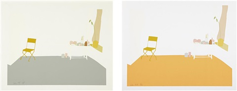 gray interior (+ orange interior; 2 works) by alex katz