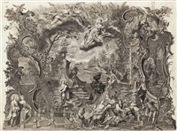 zahlreiche allegorische szenen mit lateinischen texten, im mittelpunkt die berufung des hl. augustinus aufgrund der himmelsstimme (engraved by johann daniel herz d. ä.) by johann wolfgang baumgartner