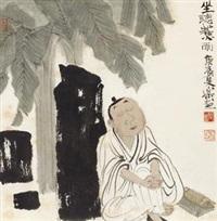 坐听蕉雨 镜心 设色纸本 by xu lele