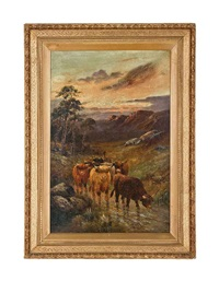 the herd at sunset (+ highland cattle and drovers by a highland loch; 2 works) by william langley