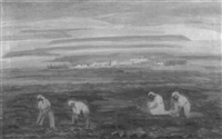 middle eastern landscape with figures by argye leo peysack
