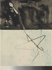 coat hanger and spoon (from fragment- according to what series) by jasper johns
