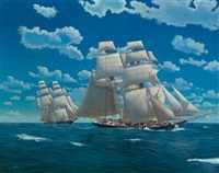 brigs under full canvas in close quarters at sea by mark richard myers