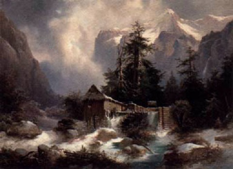a watermill in an alpine river landscape by heinrich fischer