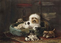 playful puppies by henriette ronner-knip