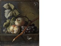 peaches and grapes on a stone ledge with a butterfly by simon pietersz verelst