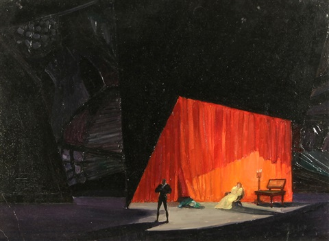 stage design for shakespeares hamlet n5 by natan isaevich altman