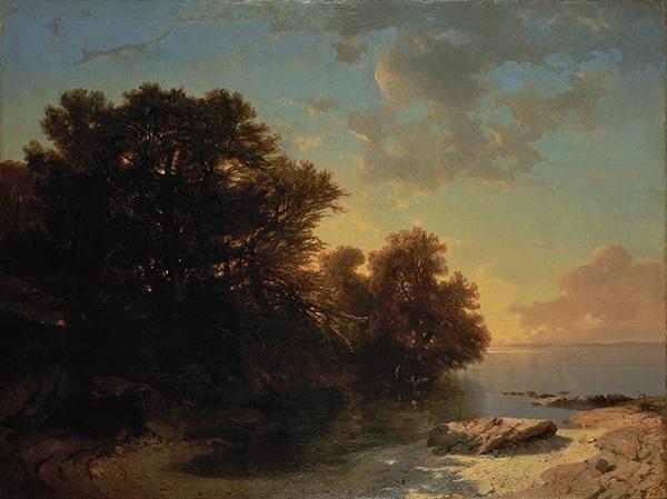 lac de genève pris de la côte de savoie by alexandre calame
