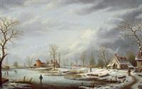 eine winterlandschaft mit reisenden by albert-alexandre lenoir