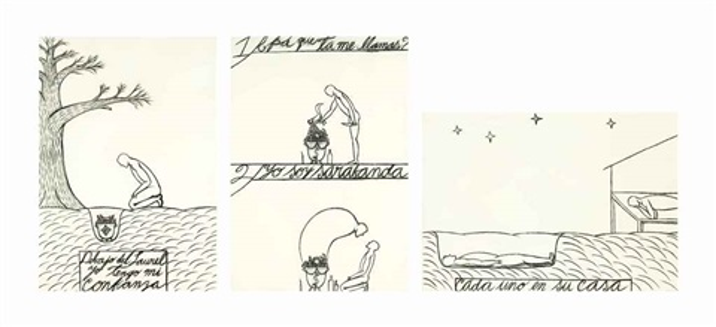 a.) debajo del laurel yo tengo mi confianza b.) pá' que te llamas... c.) cada uno en su casa (3 works) by josé bedia