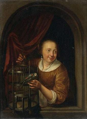 jeune fille à la perruche dans une fenêtre cintrée by pieter cornelisz van slingeland