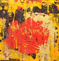 abstraction en rouge, noir, orange et beige (from serial colors) by patrick bachian