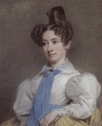 portrait of a young woman in a white blouse and blue scarf by francesco tozelli