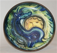 plate painted with a horse and moon by lucy boyd beck