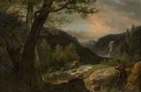 promeneur près d'une cascade dans un paysage by robert léopold leprince