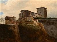 vue du chevet de l'église saint jean à thiers by théodore rousseau
