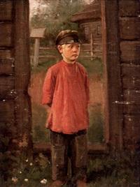 gosse i dörröppning by alekseï ivanovich korzukhin