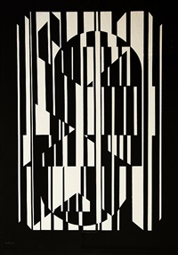 black and white composition by victor vasarely