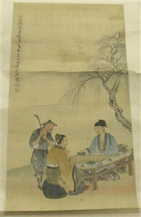 scholars playing go by chen peiqiu