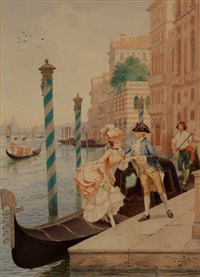 courting on the venetian canal by lionel peraux