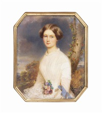 countess caroline wimpffen, née lamberg (b. 1830), seated in a white dress with frilled collar and cuffs, a posy of flowers at her waist, her dark hair upswept; tree and landscape background by emanuel thomas peter