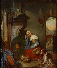de geliefde in het atelier (la bien-aimée dans l'atelier) by flemish school