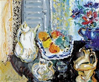 still life with flowers and tea service by liuboslav hutsaliuk