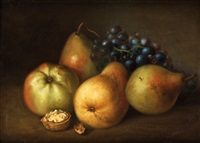 stilleben med äpplen, päron, druvor och valnöt by johannes bouman