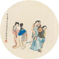 李白醉酒图 by wu qingxia