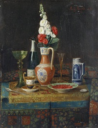 still lifes with champagne and fruit on a table (pair) by moritz mansfeld