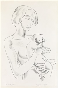 nude with cat by marguerite thompson zorach