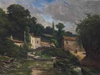 a tranquil village by charles théodore sauvageot