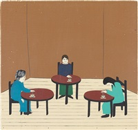untitled (3 ladies drinking tea) by clare rojas