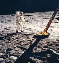 buzz aldrin walks towards a lm footpad, apollo 11, july 1969 by neil armstrong