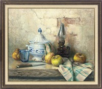apples, an oil lamp, a pear, glass and knife on a partially draped stone ledge by robert chailloux