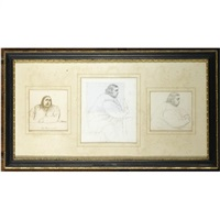 studies of the tichborne claimant (3 works framed together) by jane fortescue seymour