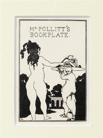 mr pollitts bookplate by aubrey vincent beardsley