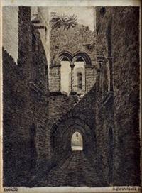 passage voûté & arcature gothique dans une rue de randazzo by aleksei petrovich bogolyubov