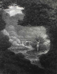 nymphs playing near waterfalls by james william fosdick