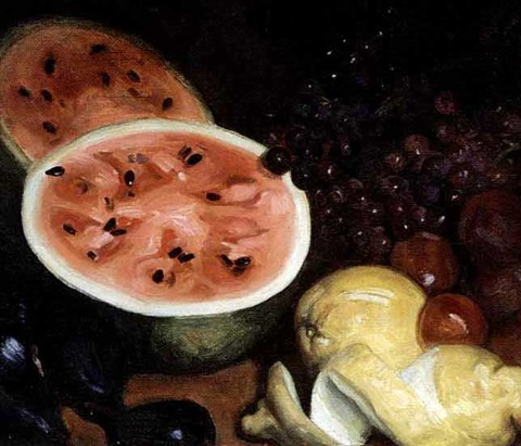 a still life with watermelon and fruit by pedro antonio martínez