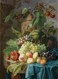 still life with fruit on a stone table by johannes hendrik fredriks