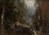 jänis, pöllö ja orava kuutamomaisemassa by edouard alexandre alexis ankarcrona