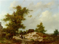 travellers on a sandy track through a village in a wooded landscape by adrianus van der koogh
