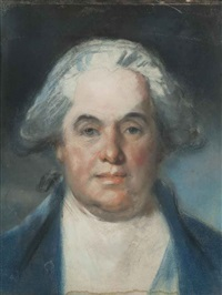 portrait of lord gage in blue coat with white cravat by john russell