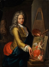 portrait eines jungen malers an der staffelei by johan van haensbergen